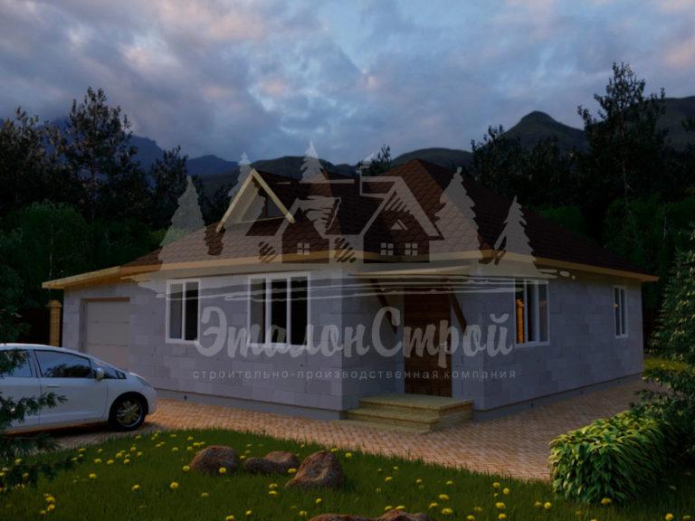Проект одноэтажного дома из блоков11,7 х12 м (ГБ-98-1) Фасад 2