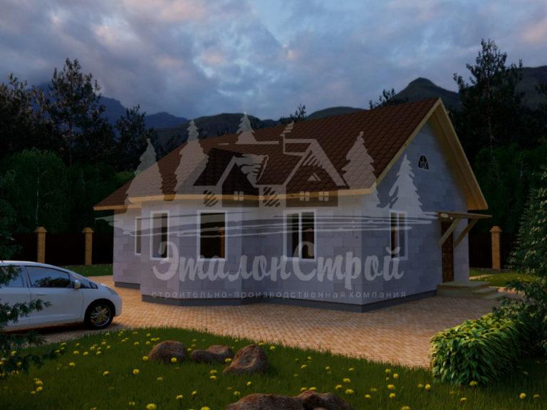 Проект одноэтажного дома из блоковх 10х11 м (ГБ-104-1) Фасад2