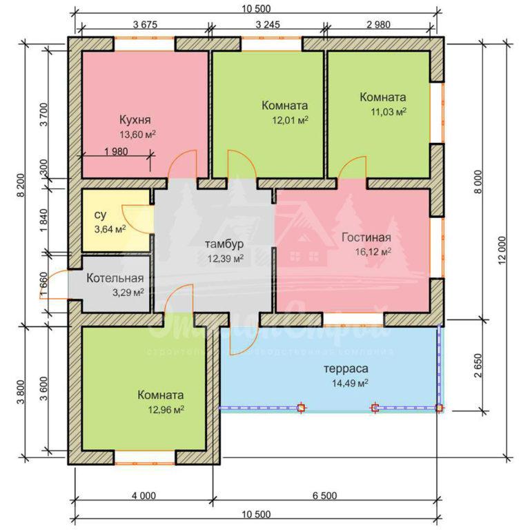 Проект одноэтажного дома из газобетона 12х10,5 м (ГБ-110-1)
