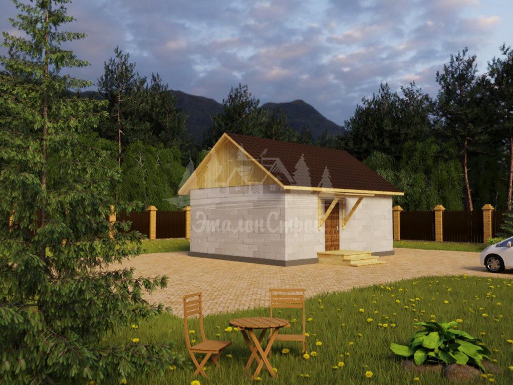 Проект одноэтажного дома из газобетона 6,3х7,7м (ГБ-49-1)