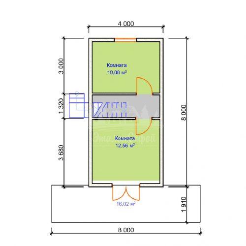 Проект двухэтажного дома с гаражом и балконом из бруса 8х8 (БР-96-1) Планировка 2 этажа
