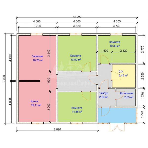 Проект одноэтажного дома из бруса 12х9 (БР-100-2) Планировка