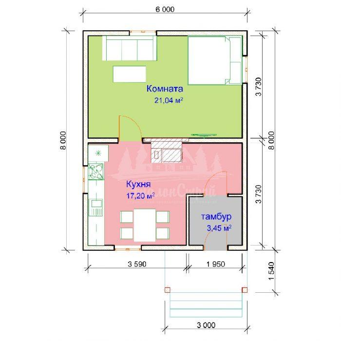 Проект одноэтажного дома из бруса 6х8 (БР-48-4) Планировка