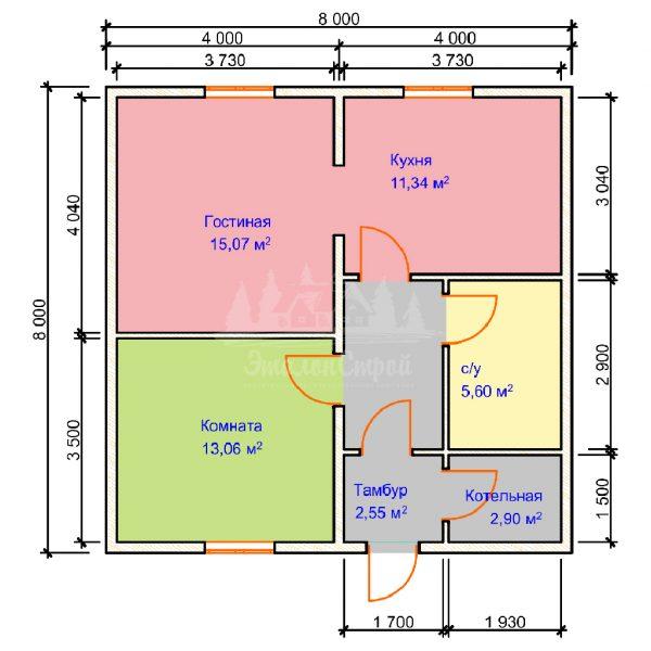 Проект одноэтажного дома из бруса 8х8 (БР-64-1) Планировка