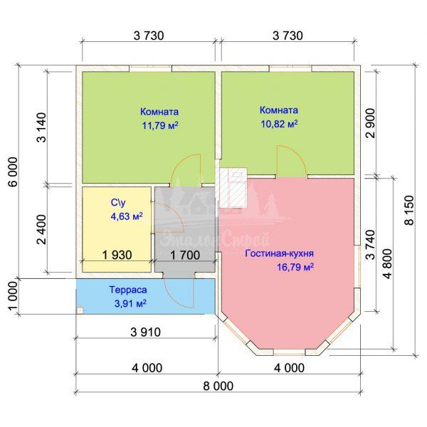 Проект одноэтажного дома с эркером из бруса 7х8 (БР-56-1) Планировка