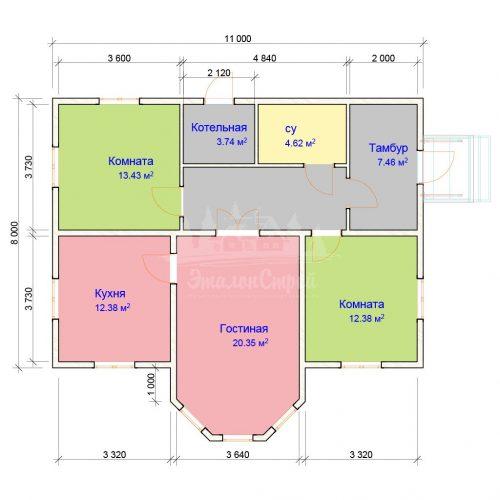 Проект одноэтажного дома с эркером из бруса 8х11 (БР-95-2) Планировка