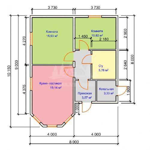 Проект одноэтажного дома с эркером из бруса 8х7,5 (БР-72-2) Планировка