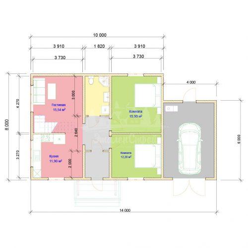 Проект одноэтажного дома с гаражом из бруса 8х10 (БР-80-2) Планировка