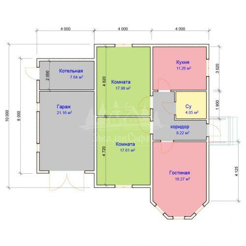 Проект одноэтажного дома с гаражом из бруса 8х10 (БР-88-1) Планировка