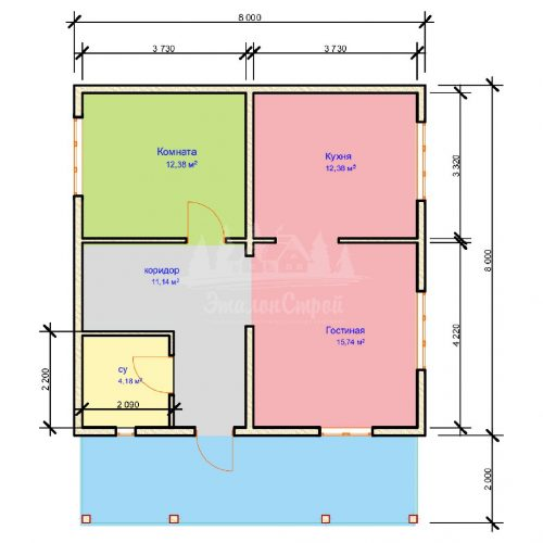 Проект одноэтажного дома с летней мансардой из бруса 8х8 (БР-64-5) Планировка